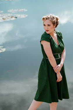 Rekha Garton RETRO WOMAN IN GREEN DRESS BY POND Women