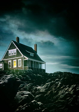 Sandra Cunningham HOUSE ON ROCKS WITH STORMY SKY Houses