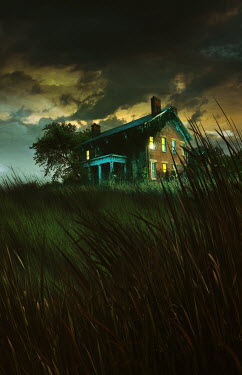 Sandra Cunningham COUNTRY HOUSE WITH LIGHTS AND STORMY SKY Houses