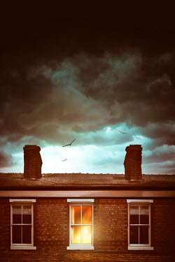 Sandra Cunningham LIGHT IN BEDROOM OF HOUSE WITH STORMY SKY Houses