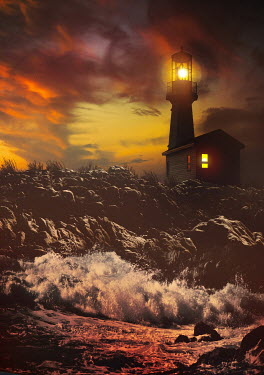 Sandra Cunningham LIGHTHOUSE AT SUNSET WITH SEA CRASHING ON ROCKS Miscellaneous Buildings