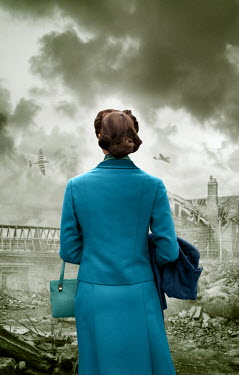 Stephen Mulcahey 1940S WOMAN WATCHING PLANES AND BOMBED BUILDING Women
