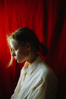 Daniil Kontorovich SAD GIRL WITH RED HAIR BY CURTAIN Women