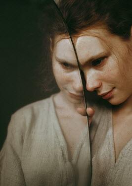 Daniil Kontorovich GIRL WITH FRECKLES REFLECTED IN DUSTY MIRROR Women