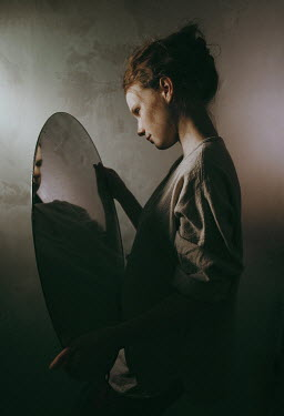 Daniil Kontorovich GIRL IN SHADOW REFLECTED IN OVAL MIRROR Women