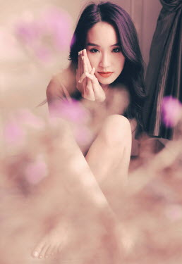 Jessica Lia ASIAN GIRL SITTING WITH PURPLE FLOWERS Women