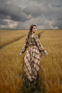 Jaroslaw Blaminsky WOMAN IN TARTAN GOWN IN WHEAT FIELD Women