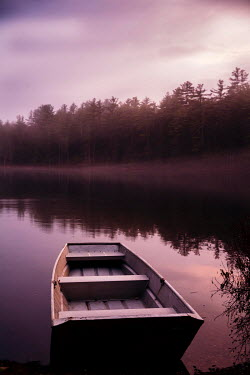 Jean Ladzinski BOAT ON LAKE BY FOREST AT DUSK Boats