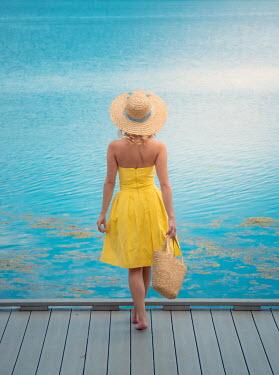 Elisabeth Ansley BAREFOOT GIRL ON JETTY WATCHING SEA Women