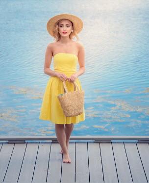 Elisabeth Ansley BAREFOOT GIRL IN HAT ON JETTY BY SEA Women