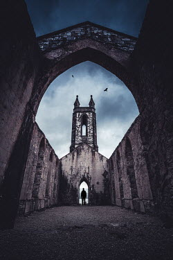 Marie Carr SILHOUETTED MAN STANDING IN RUINS OF CHURCH Men