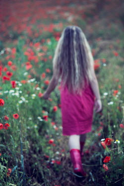 Carmen Spitznagel LITTLE BLONDE GIRL WALKING IN POPPY FIELD Children
