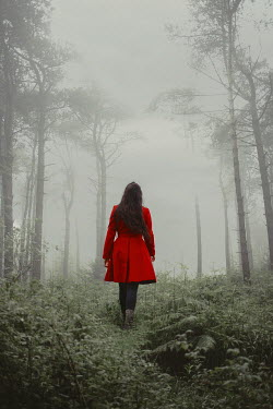 Shelley Richmond BRUNETTE WOMAN WITH RED COAT IN MISTY FOREST Women
