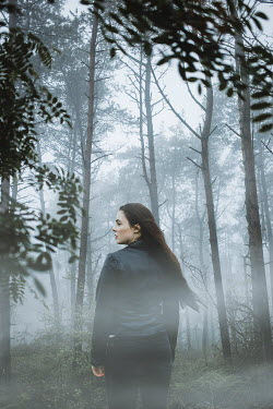 Shelley Richmond SERIOUS BRUNETTE WOMAN IN MISTY FOREST Women