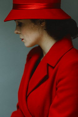 Shelley Richmond Young woman in red hat and coat