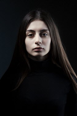 Magdalena Russocka young woman in black staring inside