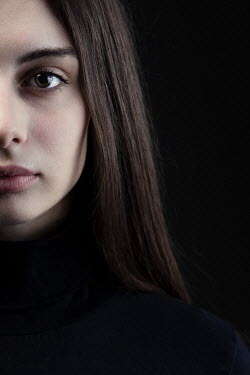 Magdalena Russocka close up of young woman in black staring inside