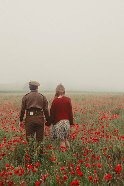Shelley Richmond 1940s soldier and woman walking in field