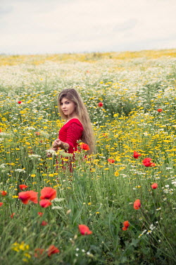 Carmen Spitznagel BLONDE GIRL IN SUMMERY MEADOW OF FLOWERS Children