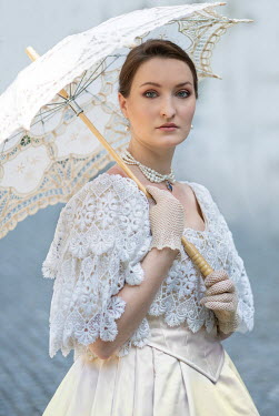 Jaroslaw Blaminsky WOMAN IN WHITE LACE AND PEARLS WITH PARASOL Women