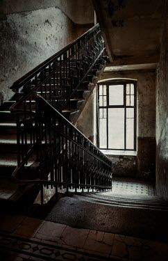 Jaroslaw Blaminsky INTERIOR OF SHABBY HISTORICAL HOUSE WITH STAIRCASE Stairs/Steps