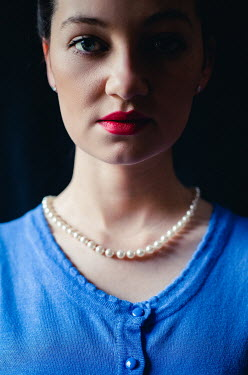 Marie Carr WOMAN WITH RED LIPSTICK AND PEARL NECKLACE Women