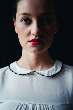 Marie Carr WOMAN WITH RED LIPSTICK AND WHITE BLOUSE Women