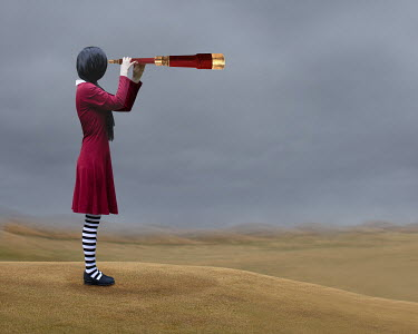 Patty Maher GIRL WITH TELESCOPE WATCHING RURAL LANDSCAPE Women