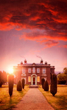 Lee Avison georgian mansion at sunset