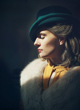 Mark Owen SERIOUS WOMAN IN HAT IN PROFILE Women