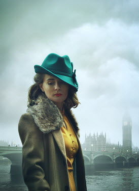 Mark Owen WOMAN WITH HAT IN LONDON BY HOUSES OF PARLIAMENT Women