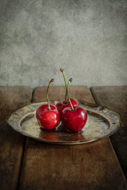 Jaroslaw Blaminsky Cherries on vintage plate