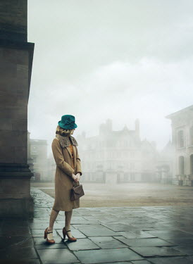 Mark Owen 1940s young woman in foggy city