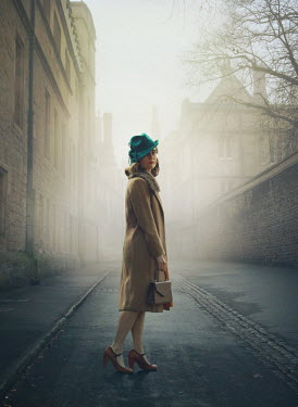 Mark Owen 1940s young woman on foggy street