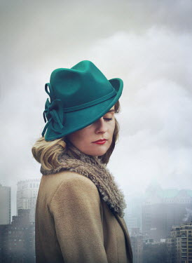 Mark Owen 1940s young woman with green hat