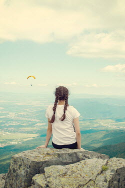 Svetlana Bekyarova GIRL ON CLIFF WATCHING PARAGLIDER IN COUNTRYSIDE Children