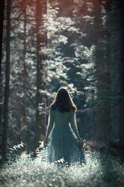 Svetlana Bekyarova GIRL IN BLUE LACE DRESS IN SUNLIT FOREST Women