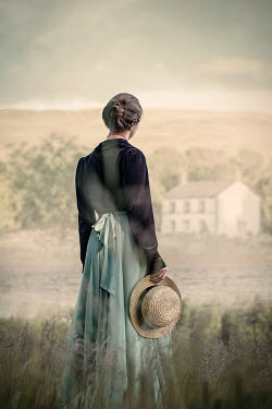 Natasza Fiedotjew Historical woman in countryside looking at house