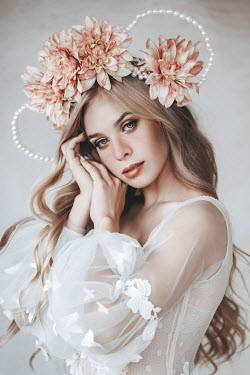 Jovana Rikalo Young woman with pink flower crown