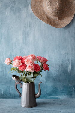 Magdalena Wasiczek ORANGE ROSES IN PEWTER POT WITH HAT Flowers