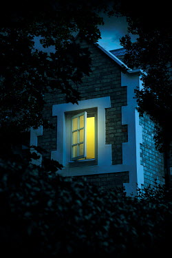 Miguel Sobreira OPEN WINDOW WITH LIGHT IN HOUSE AT DUSK Houses