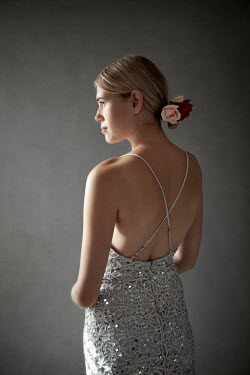 Miguel Sobreira BLONDE GIRL IN SILVER BACKLESS DRESS WITH ROSES Women