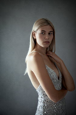 Miguel Sobreira BLONDE GIRL IN SILVER BACKLESS DRESS Women