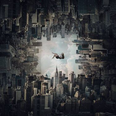 Zoltan Toth MONTAGE OF NEW YORK SKYSCRAPERS WITH FALLING WOMAN Women