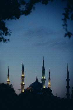 Kerstin Marinov MOSQUE WITH MINARETS AT NIGHT Religious Buildings
