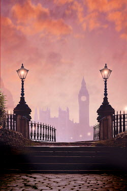 Lee Avison big ben, London seen through vintage street lamps