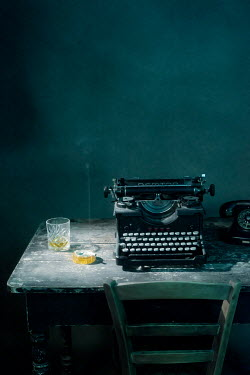Ysbrand Cosijn OLD TYPEWRITER ON TABLE WITH DRINK AND CIGARETTE Miscellaneous Objects