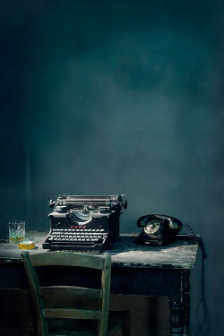 Ysbrand Cosijn TYPEWRITER ON TABLE WITH DRINK CIGARETTE AND TELEPHONE Miscellaneous Objects