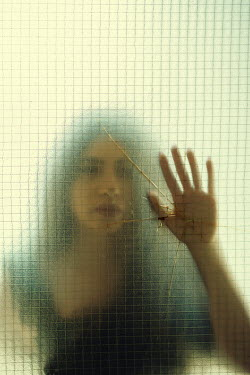 Mohamad Itani BLURRED WOMAN TOUCHING BROKEN WINDOW Women