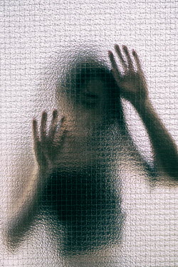 Mohamad Itani BLURRED WOMAN PRESSING HANDS ON WINDOW Women